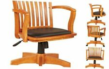 Deluxe Wood Bankers Desk Chair With Black Vinyl Padded Seat Fruit Wood