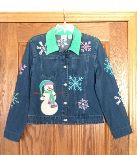 Winter S Jean Denim strass Snowman Bleu Snowflake Bayou W Sz Jacket Tema qPWgw