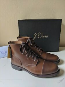 J CREW Kenton Leather Cap Toe Boots Burnished Tobacco Brown Goodyear size sz 12