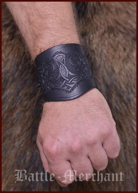 Armschiene aus Leder, Armschützer Armstulpe Thorshammer Wikinger LARP Gothic