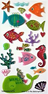RECOLLECTIONS-3-D-EPOXY-GLITTER-STICKERS-WHALE-SEA-HORSE-STARFISH-FISH