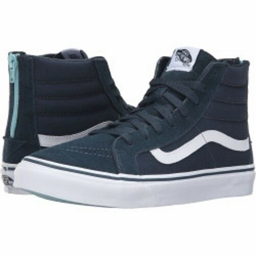 cd9a08326bb4d3 VANS Sk8 Hi Slim Zip Mens Blue Suede High Top Lace up SNEAKERS Shoes 6.5  for sale online