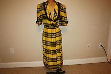 Women's 80's Vintage 100% Albert Nipon Silk 12 Dress Puffy Sleeve Long plaid