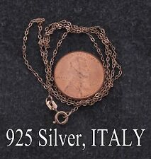 """Real 18K Rose Gold Plated on 925 Silver Rolo Chain,ITALY,18"""" GREAT Quality,106"""