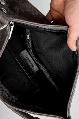 Messenger Bag Crossbody Bag Umhängetasche echt Leder Grau Marmoriert 545GM Ital