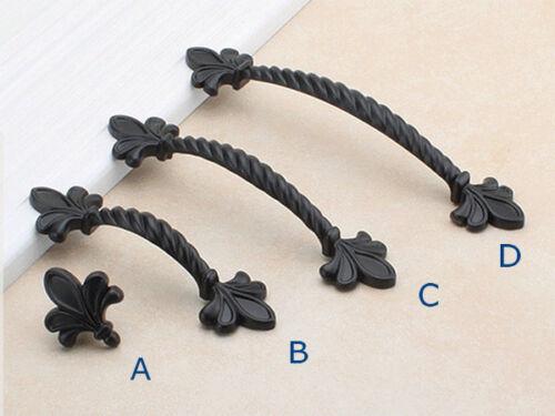"2.5/"" 3.75/"" 5/"" Black Fleur De Lis Drawer Pull Door Knob Cabinet Handle 64 96 128"