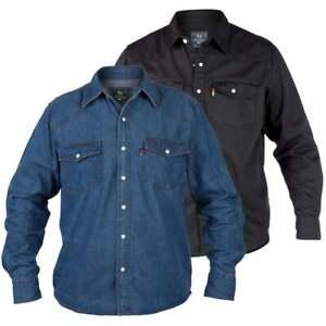 huge selection of c28af e02a0 Dettagli su Duca da Uomo Nuovo Western Autentico Cowboy Camicia di Jeans  Stonewash Blu Nero