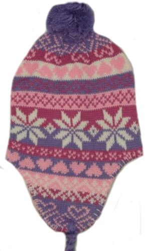 2-6YRS APPROX GIRL/'S PERUVIAN//NEPAL WINTER HATS WITH A BOBBLE/&TASSELS ONE SIZE