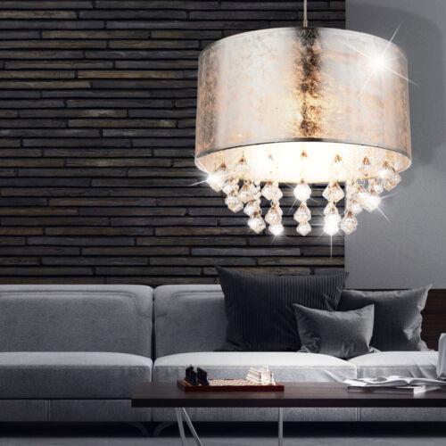 Luxus Decken Pendel Hänge Lampe Kristalle Textil gold silber Wohn Big Light