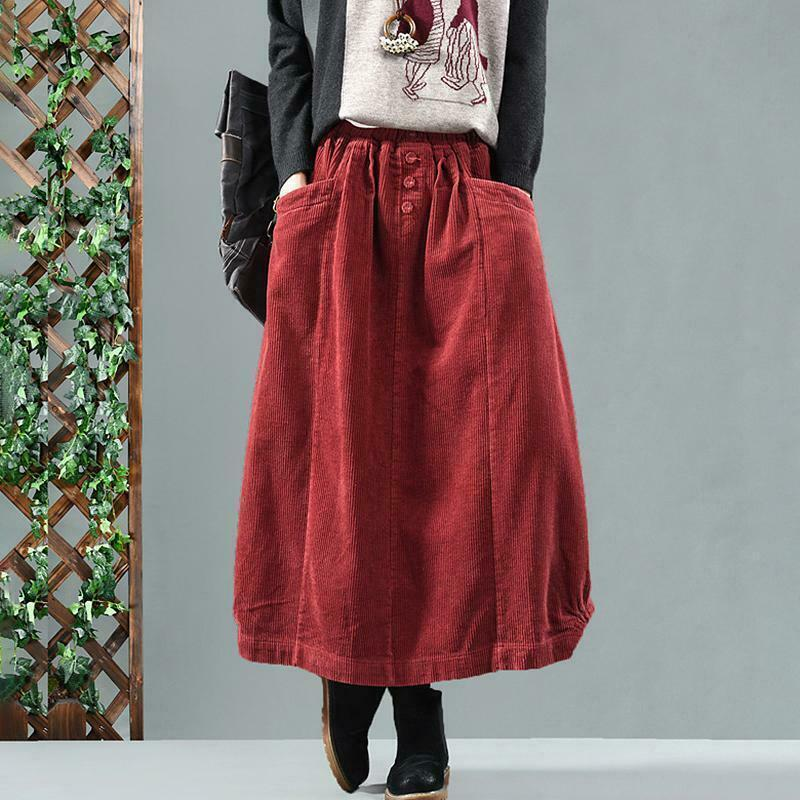 Vintage Women Winter Autumn Corduroy A-line Midi Skirt Casual Maxi Long Dress SZ