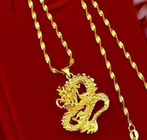 24k-Yellow-Gold-Authentic-Dragon-Pendant-Link-20-034-24-034-30-034-Chain-Necklace-D559N