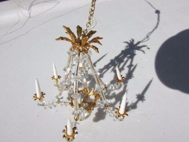 Araña de artista de cristal adornado de Casa de Muñecas 6 luz eléctrica Phyllis Tucker