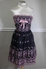 Betsey Johnson PINK EMBROIDERY CHIFFON BLACK STRAPLESS DRESS 8 (dr200)