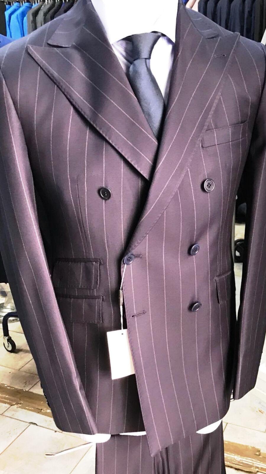 Blau pinstripe super 150 Cerruti wool suit/ 5 inch wide peak lapel