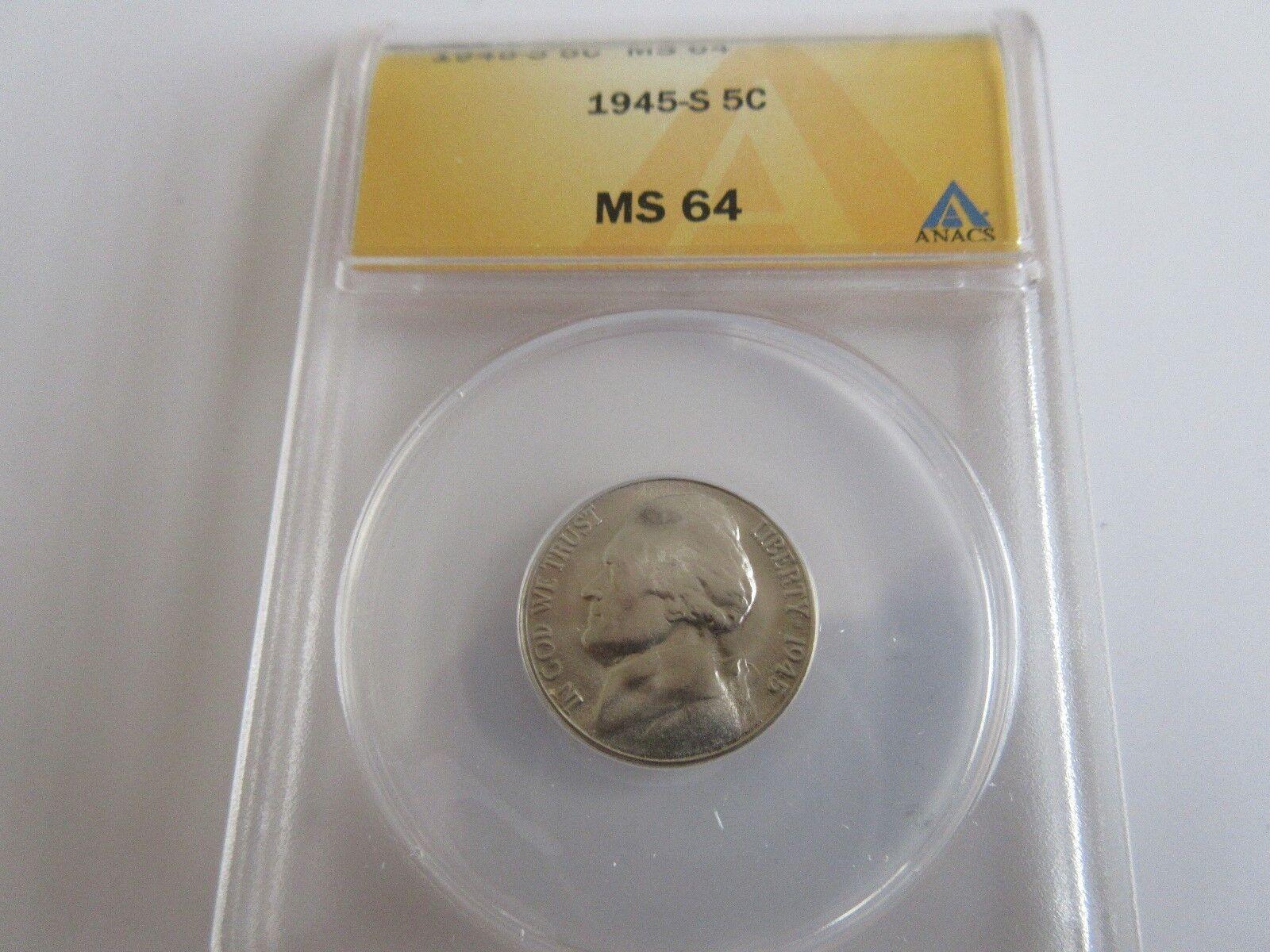 1945-S , Jefferson Nickel , ANACS , MS 64