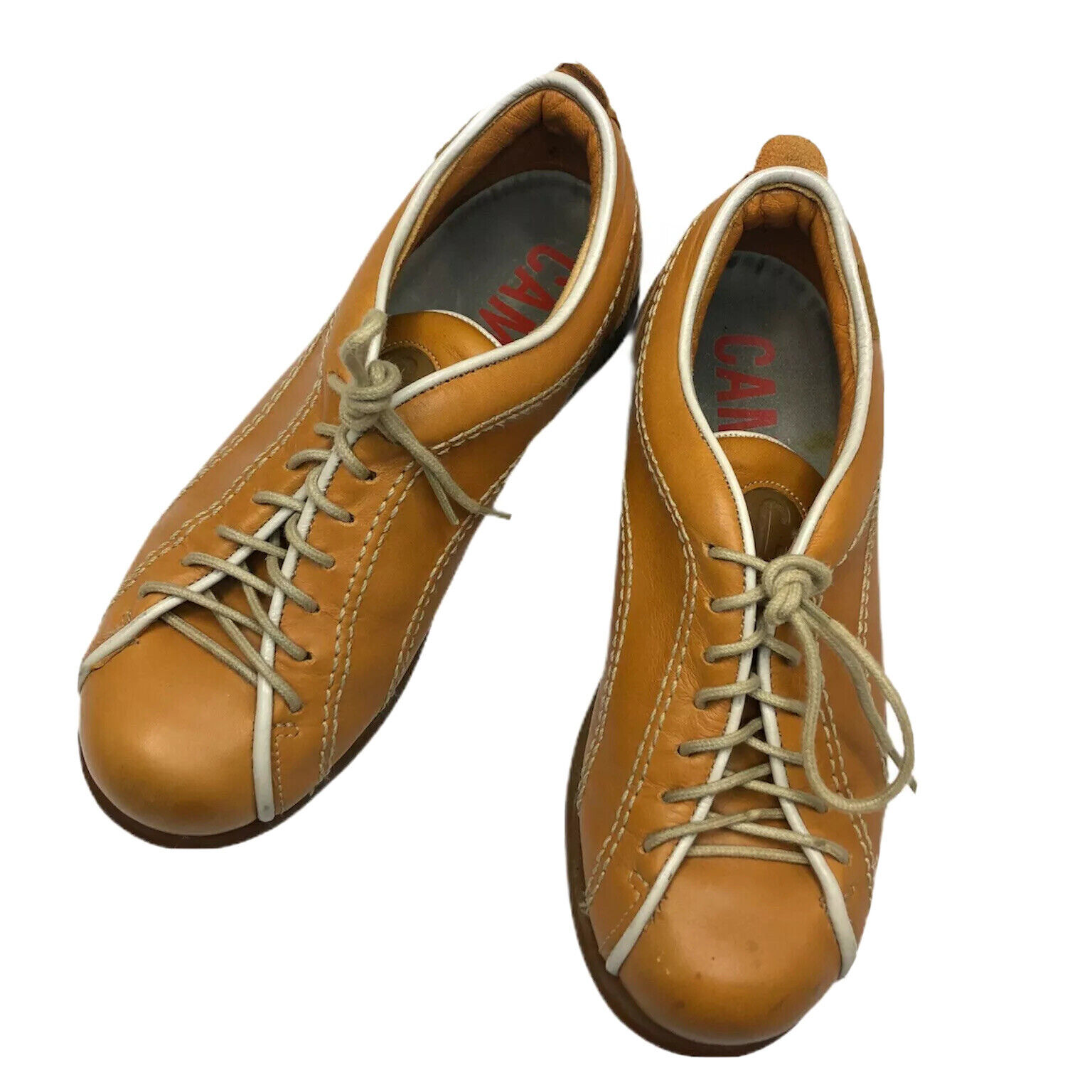 CAMPER Pelotas Unisex Brown Tan Leather Suede Sneaker Lace Up Bowling
