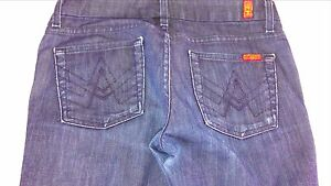 7-For-All-Mankind-A-Pocket-Jeans-Womens-SZ-29-Short-Dark-Boot-32-x-28-5-Actual