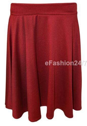 New Womens Plus Size Plain Flared Elastic Waist Ladies  Short Skater Skirt 14-28