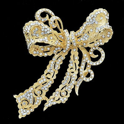 "Women Bow Bowknot Brooch Pins 4.0"" w/ Rhinestone Crystals 4 Color 5823"