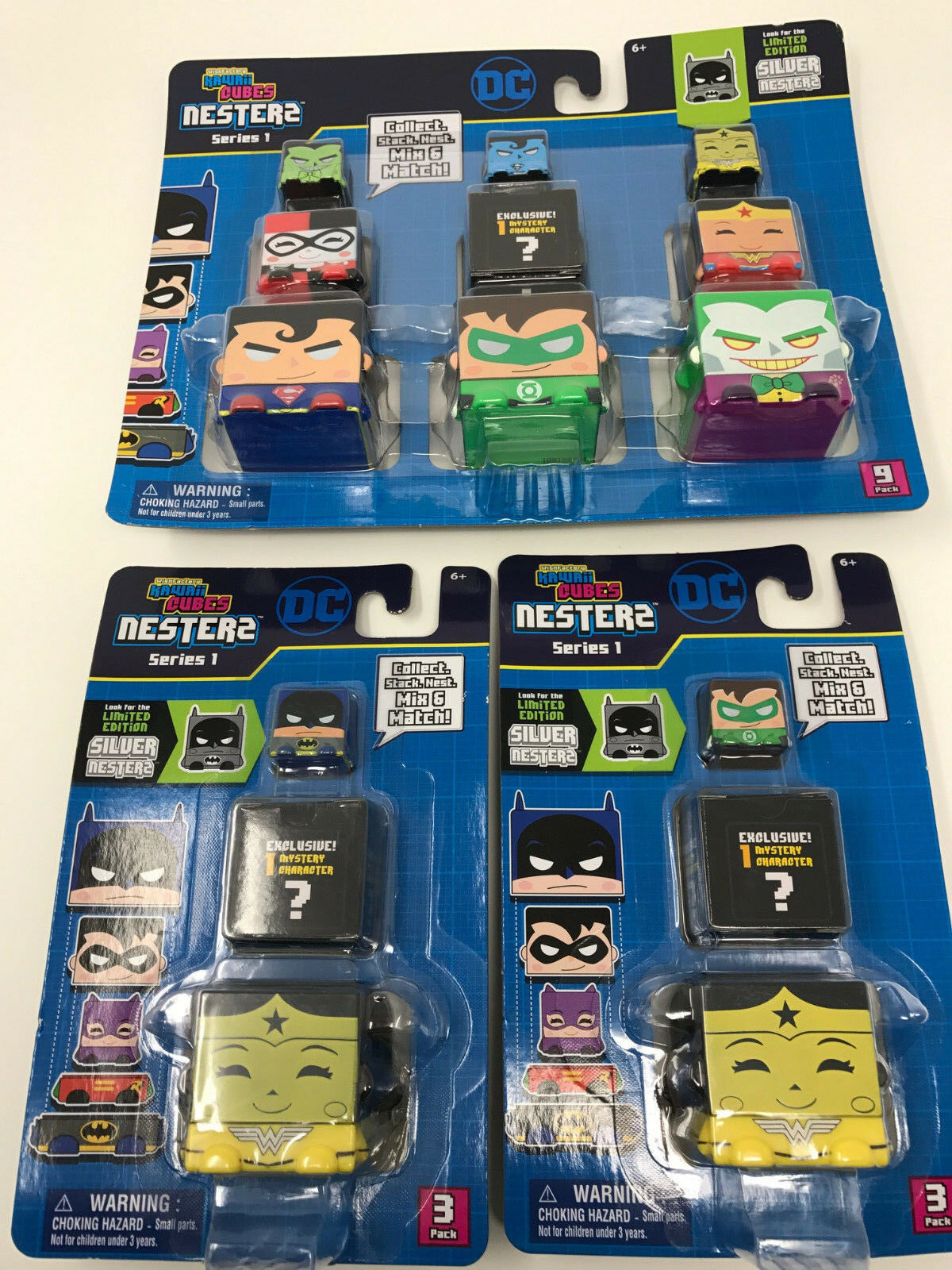New, NIP, Sealed Kawaii Cubes Nesters Series Series Series 1, DC, Superman, Batman, Lot of 3 3b561a