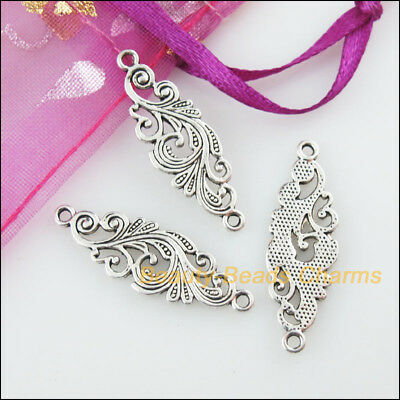 18 New Oval Flower Connectors Tibetan Silver Tone Charms Pendants 7.5x24mm