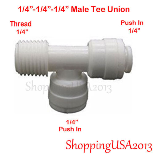 """5 Pcs Male Tee Union Fitting 1//4/"""" Thread Quick Connector Ro Water Filter BSP"""