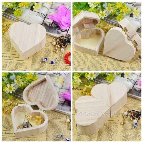 Wooden Jewelry Box Crafts DIY Mud Base Love Heart Shaped Art Decor Toys CQ0142