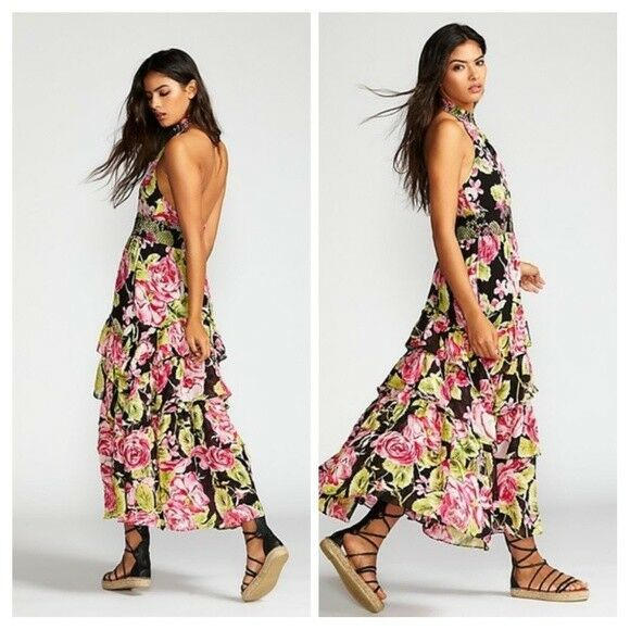 BEAUTIFUL FREE PEOPLE MAXI LONG DRESS IN FULL BLOOM FLORAL SZ SMALL