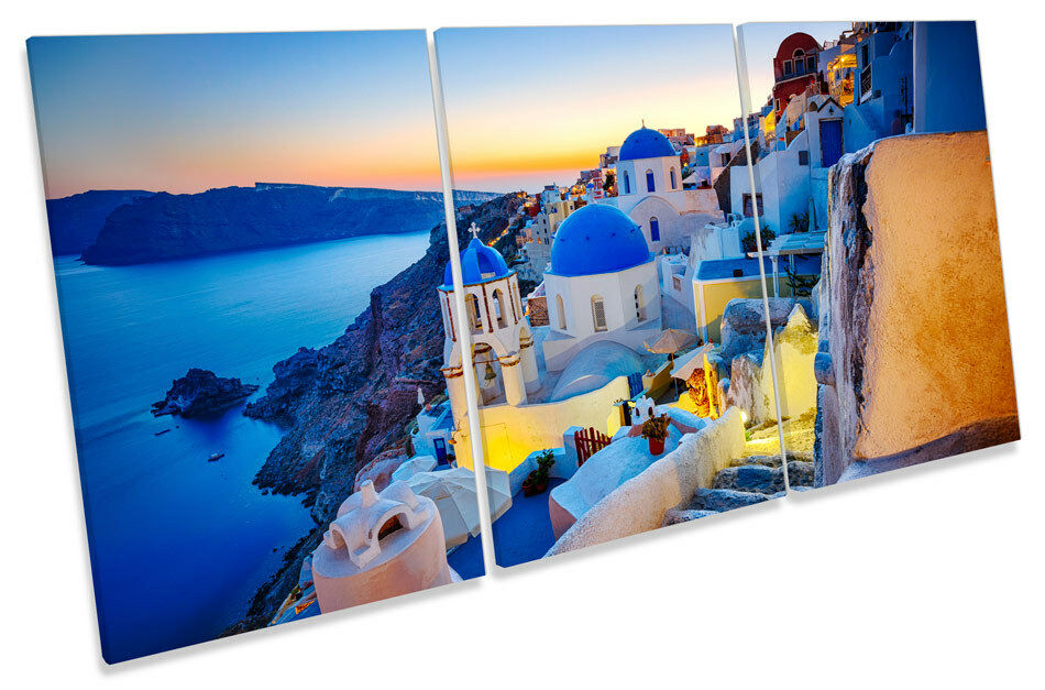 Greece Sunset Santorini  CANVAS WALL ART TRIPLE Print Picture