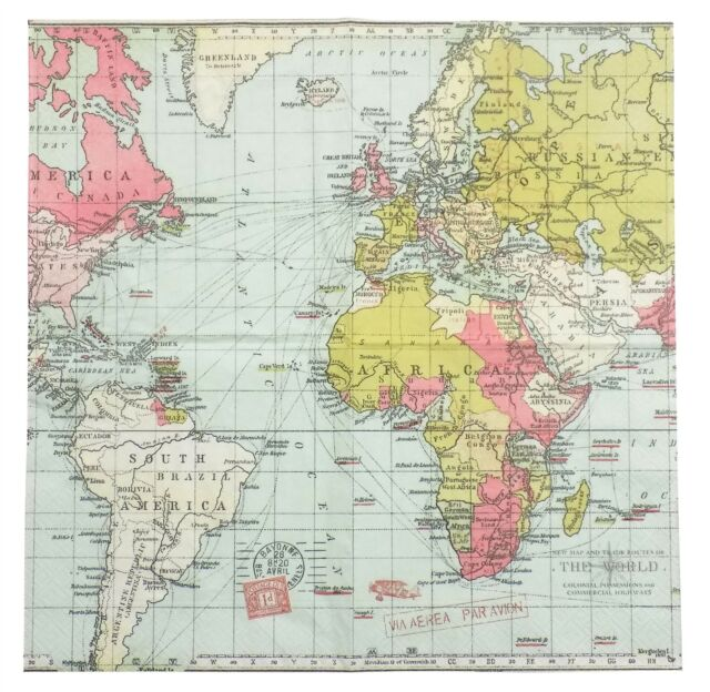 Paper Napkins (packet X 20) World Map Atlas Travel Party Crafting Decoupage