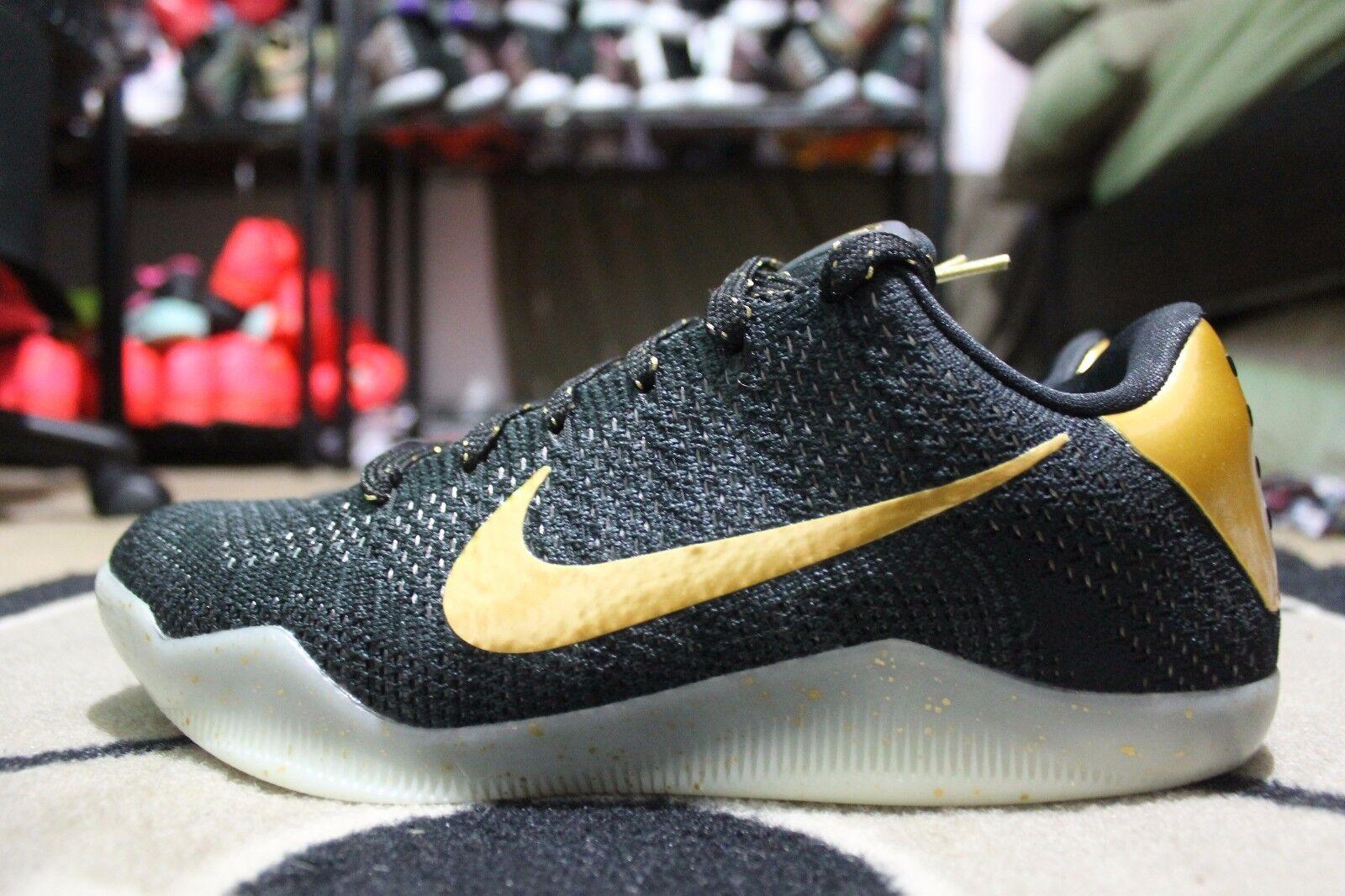 NEW Nike Kobe XI Elite Low Flyknit iD Triple Black Sz 8 Glow in the Dark