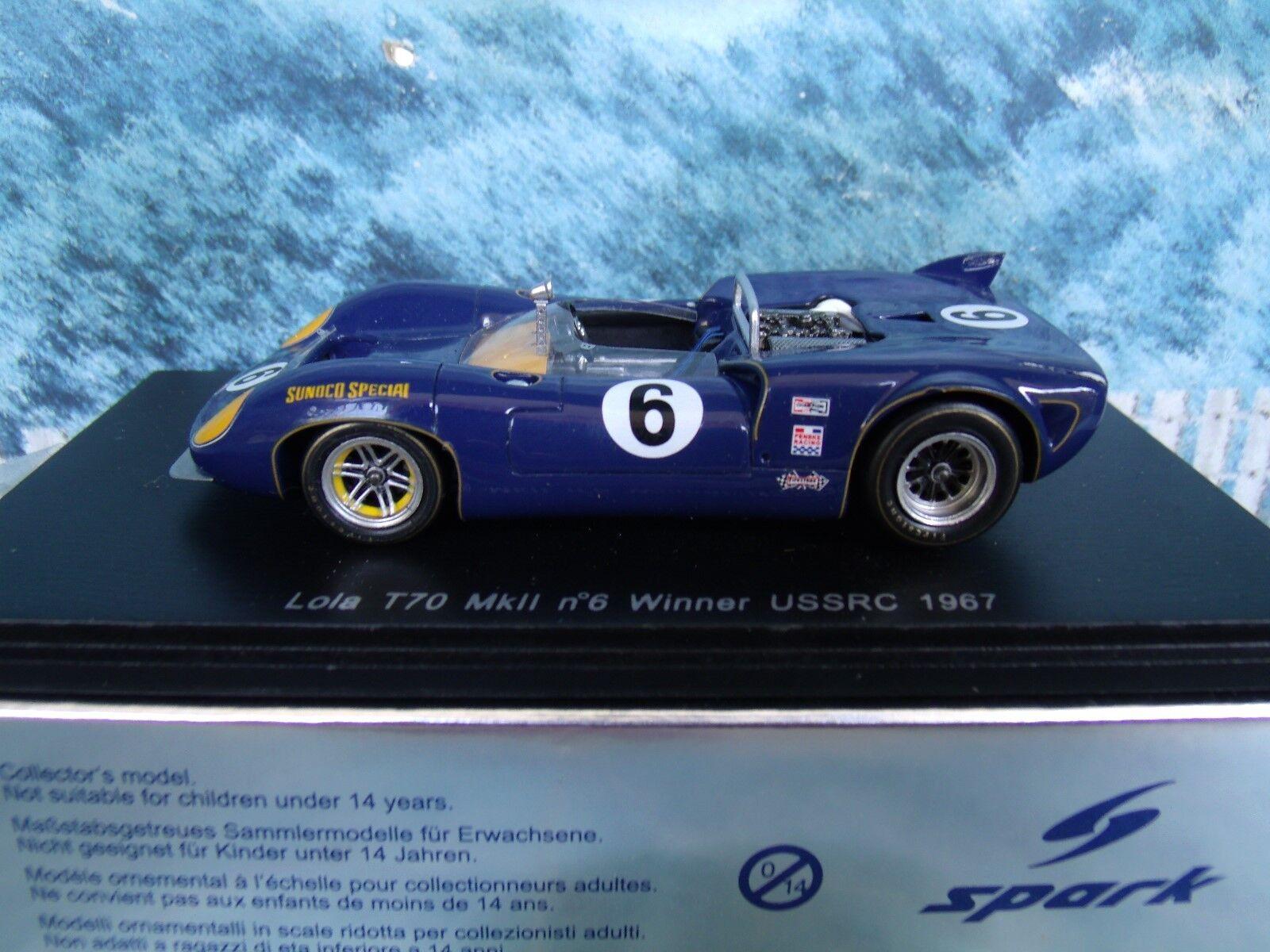 marca 1 43 Spark Spark Spark Lola T70 MK II  6 ganador USSRC 1967 S1145  barato y de moda