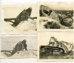"""WWI WW1 AEF Photos-German, US Camo Tanks, Wrecked Battle Damaged Etc. 4.5"""" wide"""