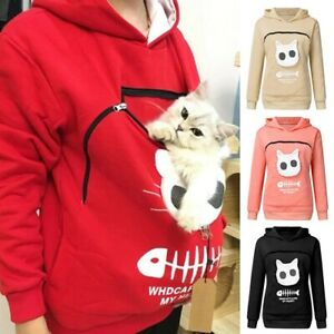 Women-Sweatshirt-Animal-Pouch-Hood-Tops-Carry-Cat-Breathable-Pullover-Blouse-Top
