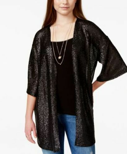 Juniors Stylish Sequined Kimono Sleeve Black Small Size Sweater Macy/'s Say What