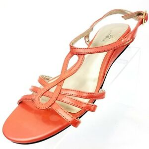 Jaclyn-Smith-Womens-Size-9-W-Gladiator-Wedge-Ankle-Strap-Sandals-Pink-Shoes
