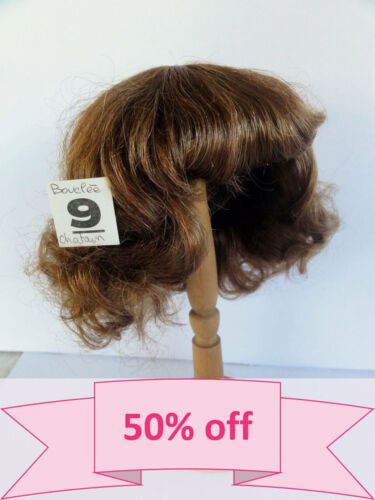 "DISCOUNT -50/% Human Hair DOLL WIG size 12.6 /"" 32 cm Short red-brown  hair."