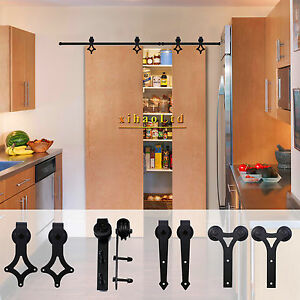 Image is loading 4-12FT-Rustic-Sliding-Barn-Door-Hardware-Closet- & 4-12FT Rustic Sliding Barn Door Hardware Closet Track Kit For Double ...