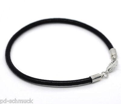 4 Charm Armbänder Schwarz Echt Lederarmband Armreif fit European Beads 20cm