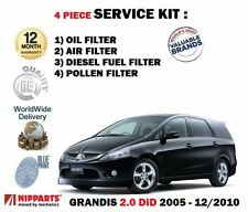 FOR MITSUBISHI GRANDIS 2.0 DT DiD 2005-12/2010 OIL AIR FUEL POLLEN 4 FILTERS KIT