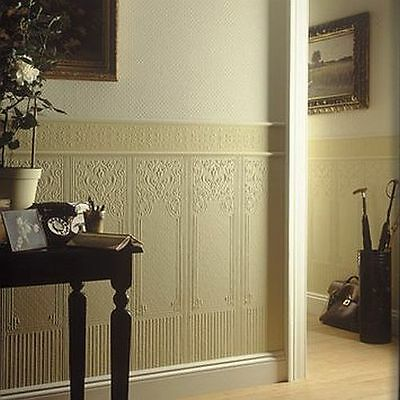 RD06700 Anaglypta Dado Panels Oriental White Textured Paintable Wallpaper
