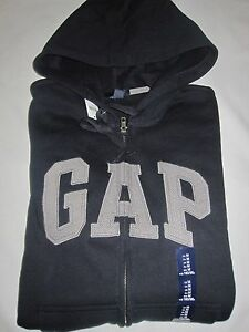 Mens GAP Logo Navy Blue Hoodie Zip Up Sweatshirt Size S