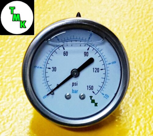"Pressure Gauge for oil fuel air 150 PSI 10 BAR 1//8 npt thread 63mm 2.5/"" Dia face"