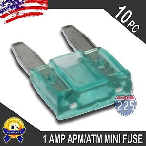 10 Pack 1A Mini Blade Style Fuses APM/ATM 32V Short Circuit Protection Fuse US