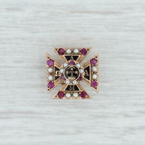 Alpha-Tau-Omega-Badge-10k-Gold-Rubies-Pearls-Pins-Fraternity-Cross-Pin
