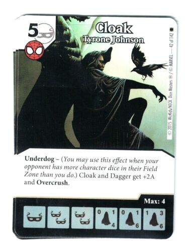 Marvel Dice Masters Spider-Man, Cloak Tyrone Johnson 42/142 Card & Die