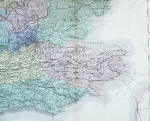 1883-LARGE-MAP-BRITISH-ISLES-SUSSEX-KENT-LONDON-ESSEX-HARWICH-BRIGHTON-LEWES
