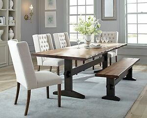 Rustic Trestle Solid Wood Dining Table Tufted Beige Chairs Bench