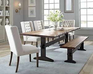 Rustic Trestle Solid Wood Dining Table Tufted Beige Chairs Bench Furniture Set 6494557106676 Ebay