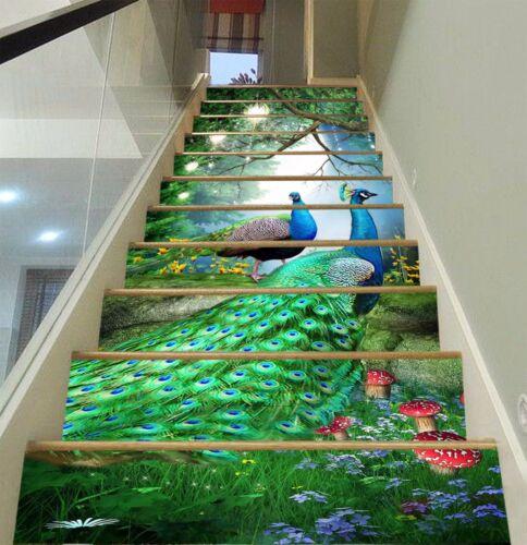 3D Peacocks 850 Stair Risers Decoration Photo Mural Vinyl Decal Wallpaper AU